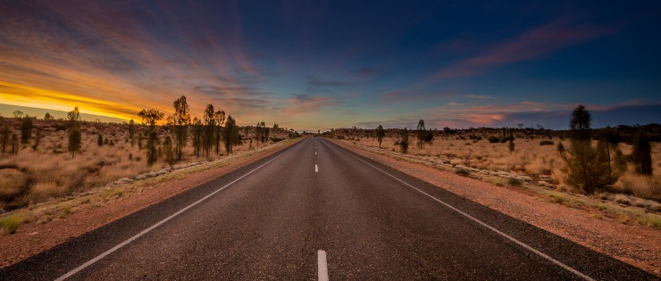 An Australian highway at sunset