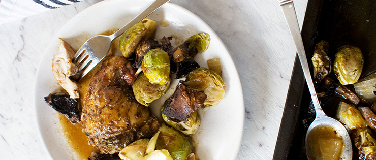 Honey Balsamic Chicken with Mushrooms and Brussels Sprouts