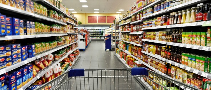Supermarket aisle with packaged foods