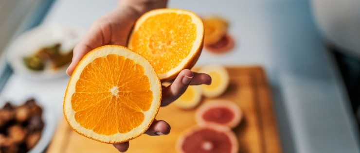Oranges are high in vitamin C and are effective at increasing iron absorption.