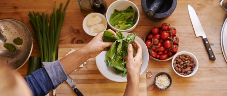 Leafy green vegetables are a good source of iron for vegetarians.