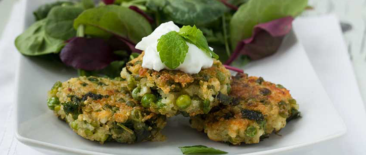Pea, Mint, Feta and Quinoa Fritters