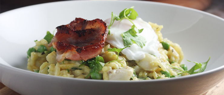 Smoked Fish Risotto with Bacon and Poached Egg