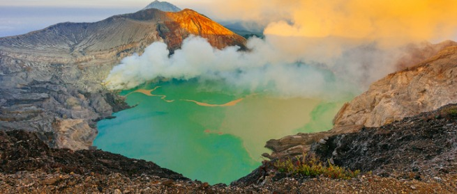 Sunrise at Ijen volcano